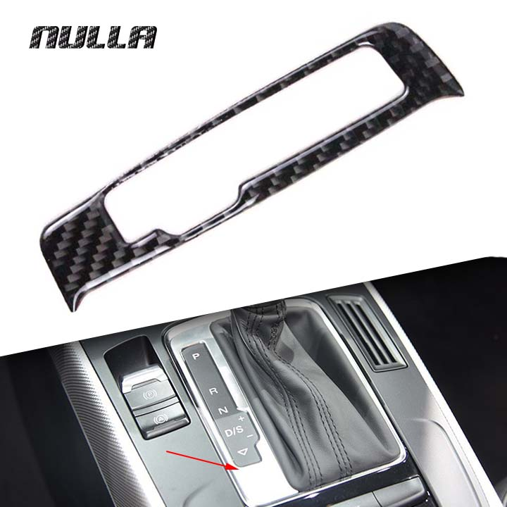 NULLA Carbon Fiber for AUDI A4 A5 Q5 2009 - 2011 2012 2015 2016 2017 Gears Shift Panel Control Decorative Trim Stickers Frame nulla tpe