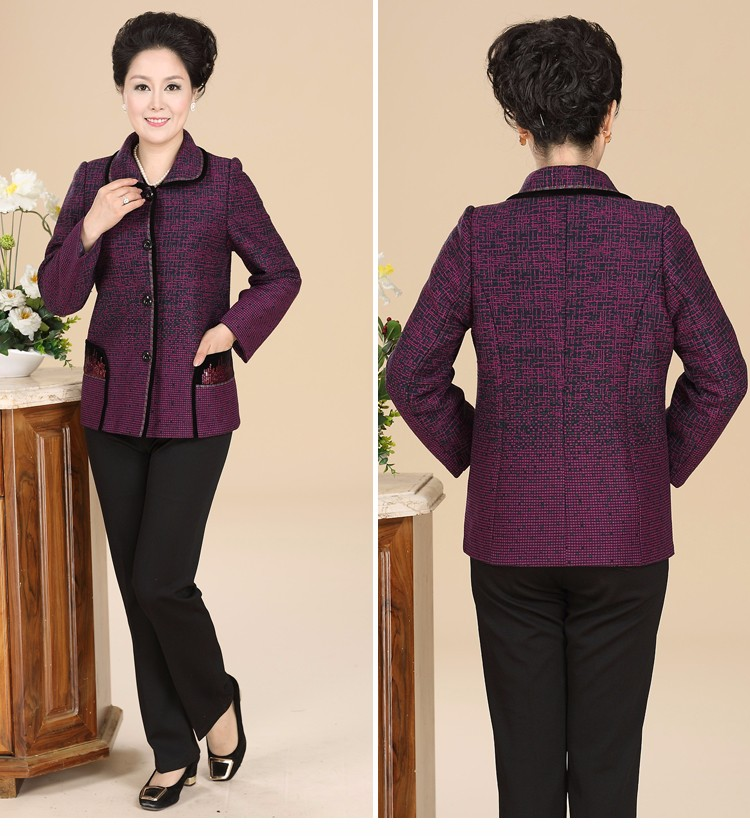 Chinese Autumn Jacket Women\'s 2016 Elegance Red Purple Coat For Middle Aged Woman Button Front Turn Down Collar Casaco Feminino 40s 50s 60s (9)