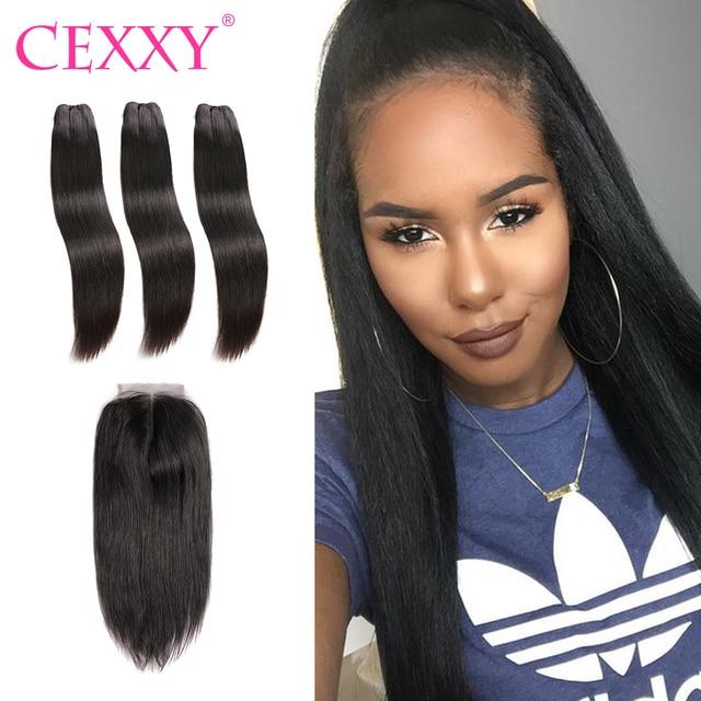 Cexxy Hair Straight Raw Indian Virgin Hair Bundles With Closure Hair