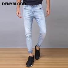 Denyblood Jeans 2017 Spring Summer Mens Slim Jeans Stretch Denim Distressed Jeans Ripped Snow Wash Pencial Casual Pants 7309