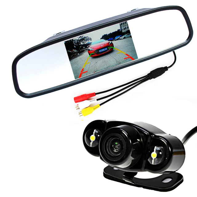 "Auto Video System 4.3"" tft LCD Car Rearview Mirror Monitor with 2 LED Night Vision Vehicle Car Backup Reverse Rear View Camera"