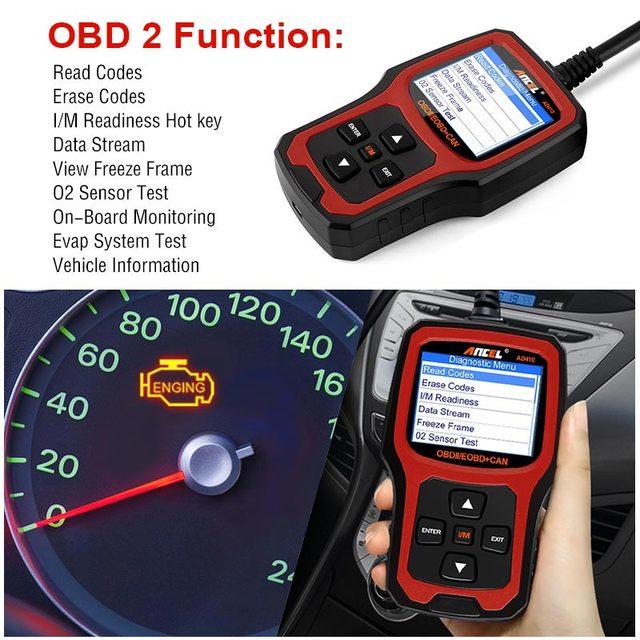 ANCEL AD410 OBD2 Automotive Scanner in Portuguese Professional Engine Code Reader OBD 2 Car Diagnostic Tool Lifetime Free Update