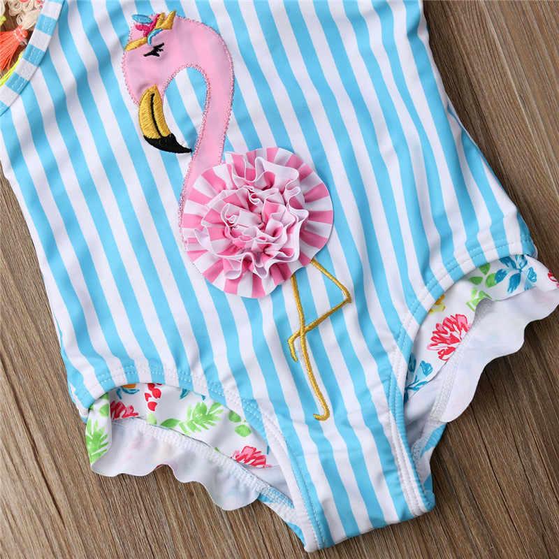 От 6 месяцев до 5 лет полосатый Детский женский пляжный костюм боди Летние купальные костюмы с 3D фламинго для девочек синий