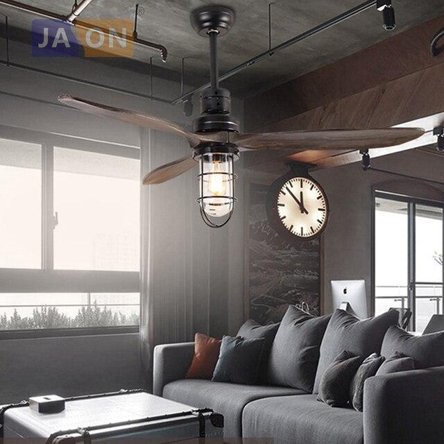 Led e27 Loft Bois De Fer Ventilateur de Plafond de Verre Lampe LED LED Lumi¨re Plafonniers LED Plafonnier plafond Lampe Pour Foyer dans