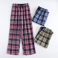 Plus Size Cotton Plaid Men Sleep Bottoms Comfort Pajama Simple Loose Sleepwear Pants Pijamas Male Sheer Pyjama Trouser Homewear