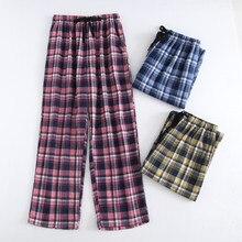 b672cea98213 Плюс размеры хлопок плед для мужчин сна низ Комфорт пижамы простые  свободные брюки для девочек Pijamas