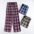 Plus Size Cotton Plaid Men Sleep Bottoms Comfort Pajama Simple Loose Sleepwear Pants Pijamas Male Sheer Pyjama Trouser Homewear