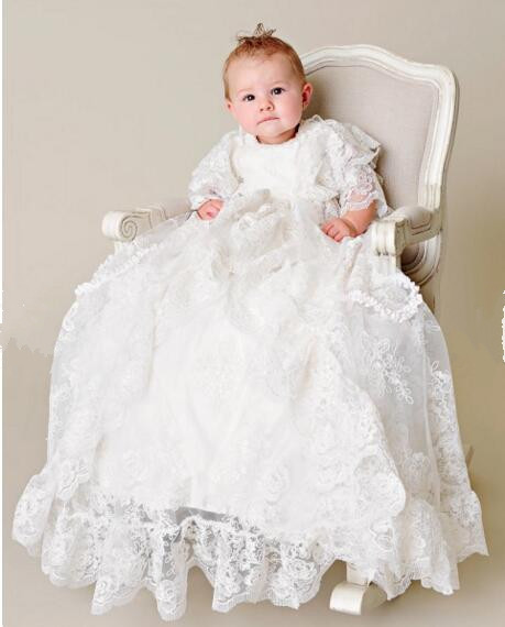 Heirloom Baby Infant Girls Christening Dress Todder Baptism Gown Lace Applique Robe White/Ivory 0-24month