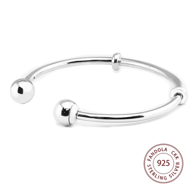 Open Cuff Bangle Bracelet 925 Sterling Silver Jewelry Charm Bangles For Women Luxury Brand Silver Jewellery brazalete mujer