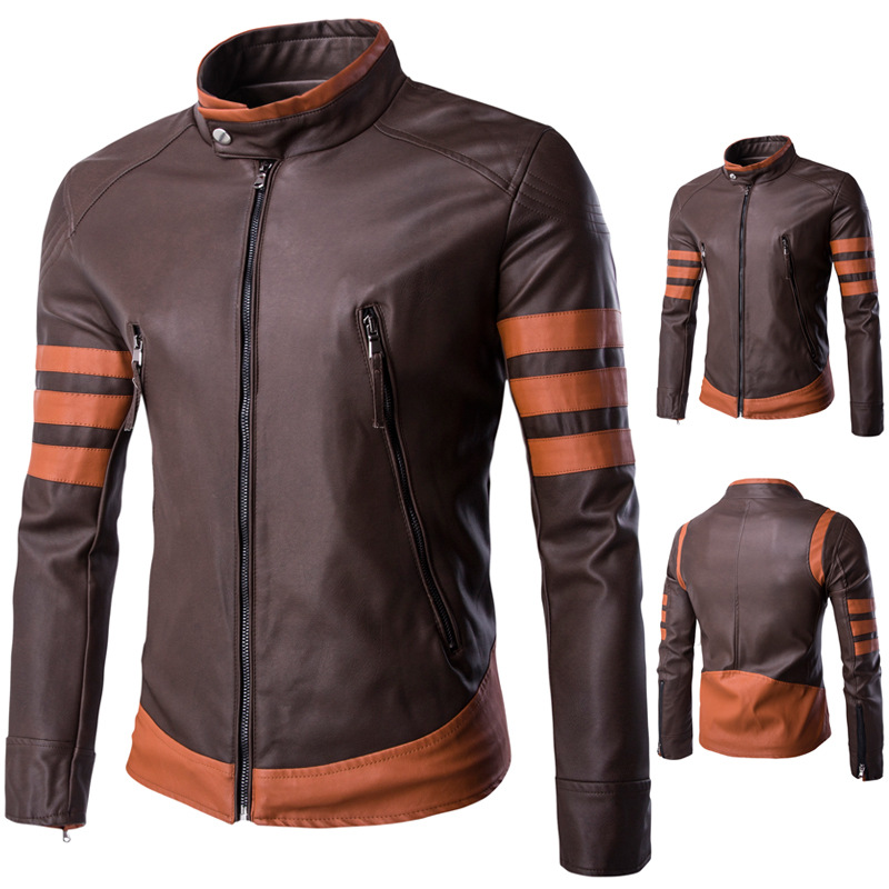 X-Men Logans Man Costume Cosplay Jacket Zip Faux Leather Jacket Men Autumn Winter Brown Motorcycle Leather Jacket Plus Size
