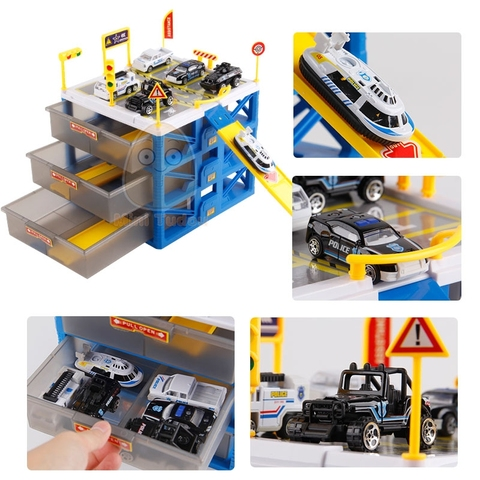 Kids Car Track Toys Mini Parking Lot 6PCS Cars Storage Matchbox DIY Road Signs Slot Car Model Toys Carport Garage Toy For Kids Islamabad