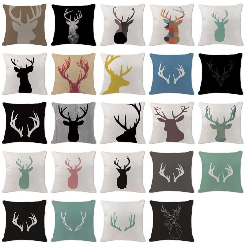High Quality Cushion Covers Scandinavian Antlers Deer Pillowcases custom Linen Home Sofa Decorative Animal Pillow Cover