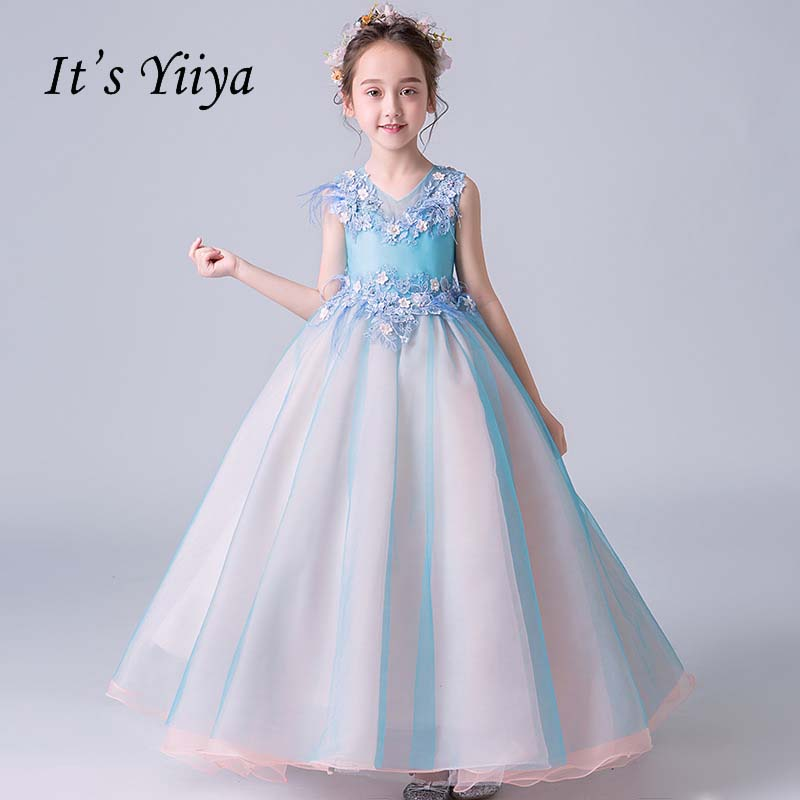 It's yiiya V-neck Illusion Zipper Beading Quality Flowers Child Cloth Kid Flower Girl Dresses For Party Wedding Girl Dress S049