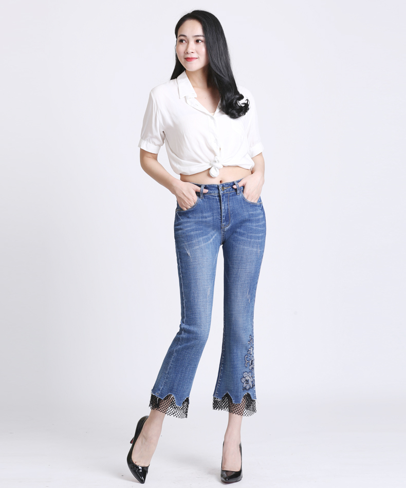 KSTUN FERZIGE 2018 Brand High Waisted Woman Jeans Embroidered Elastic Slim Fit Bell Bottoms Flares Pants Sexy Lady Ankle-length Femme 12
