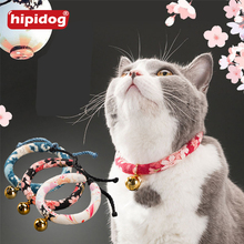 Hipidog Cat Doggies Pet Adjustable Handmade Collar Printed Necktie Necklace with Bell for Small Dog Accessories Supplies