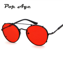 PAWXFB New Vintage Steampunk Sunglasses Women Men Brand Designer Metal Mirror Round Dark Red Sun glasses lentes de sol 400UV