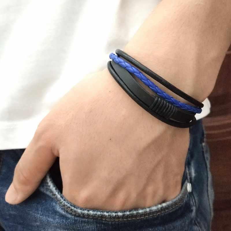 bastante agradable 270f3 d8b87 Pulsera de hombre Punk negro/marrón/azul/lago Azul trenzada pulsera de  cuero brazalete Hombre Accesorios joyería cuero negro pulseras