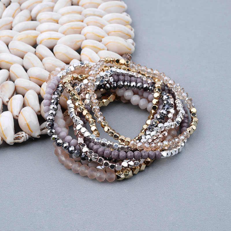 c8468056fd7c BOJIU Multicolor Crystal Strand pulseras para mujeres oro acrílico cobre  cuentas Rosa blanco negro gris cristal pulsera mujer BC226
