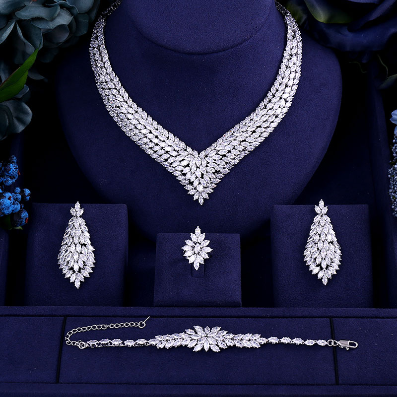 Bracelet Bridal-Jewelry-Set Drop-Earrings Heavy-Necklace Dubai Wedding Cubic-Zirconia title=