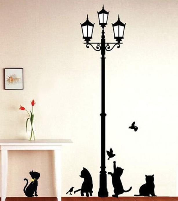 New Hot Naughty Cats Birds and Street light Lamp Post Wall Stickers New Hot Naughty Cats Birds and Street light Lamp Post Wall Stickers HTB18RWiJVXXXXXuaXXXq6xXFXXX9