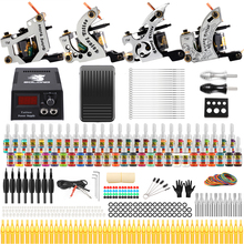 цена на stigma Tattoo Complete Starter Beginner Tattoo Kit 4 Pro Machine Guns 54 Inks Power Supply Foot Pedal Needles Grips Tips TK459