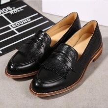 Yinzo女性フラットオックスフォード靴の女性の本革スニーカーbroguesヴィンテージカジュアルシューズ靴女性のための靴 2020