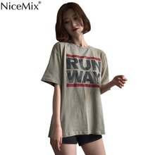 NiceMix 2019 Summer Women Fasion T Shirt  Korean Style Loose All Match Letter Printing Short Popular Free Shipping New Tee