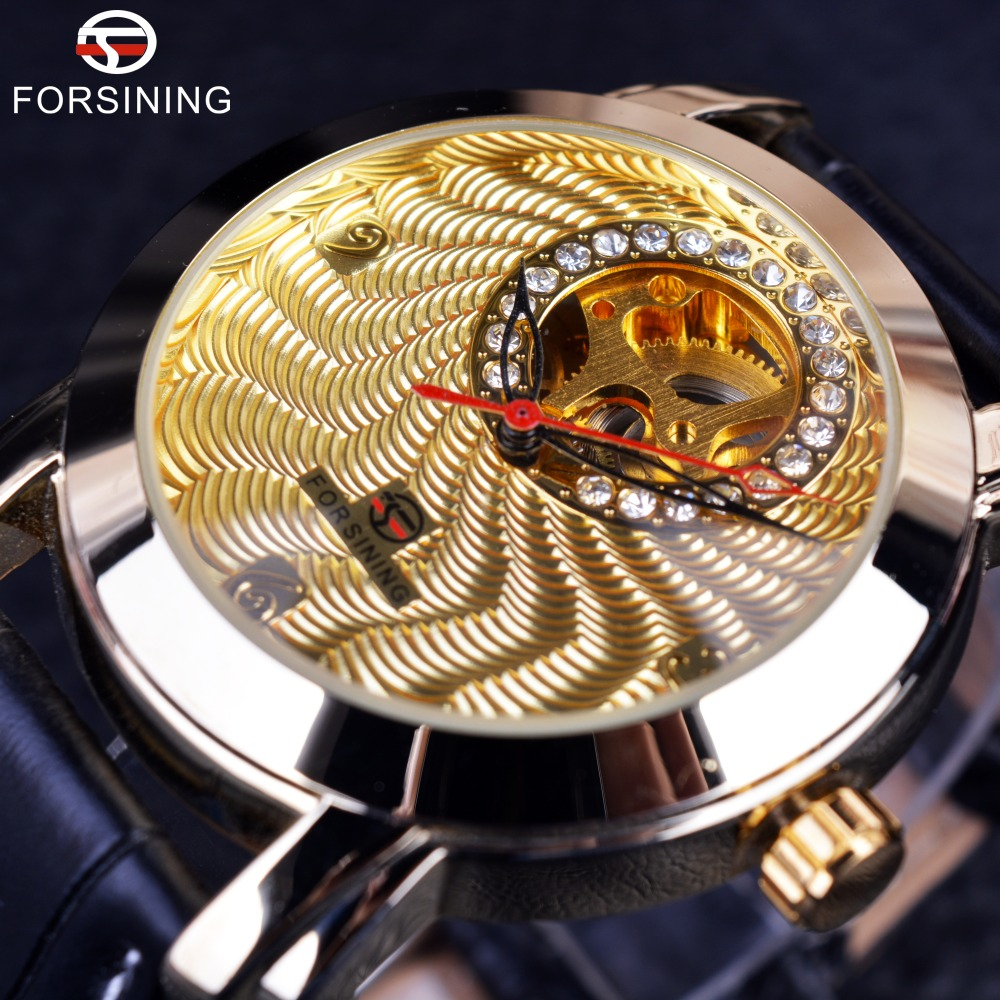 Forsining Golden Luxury Corrugated Designer Mens Watches Top Brand Automatic Luxury Small Dial Diamond Display Skeleton Watch forsining 3d skeleton twisting design golden movement inside transparent case mens watches top brand luxury automatic watches