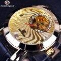 Forsining Oro Corrugado Diseñador de Lujo Para Hombre Relojes de Primeras Marcas De Lujo Automático Pequeña Pantalla Dial Diamante Reloj Esqueleto