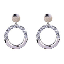 new trendy crystal earrings for women personality white geometric big circle statement hyperbole jewelry gifts
