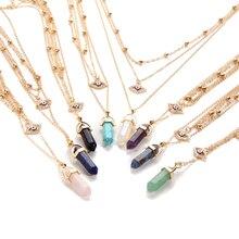 Bohemian Opal Choker Necklaces For Women – Bijoux Multi Layer Eye Big Stone Pendant Necklace Beads Statement Jewelry
