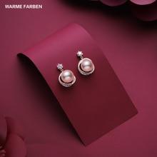 Warme Farben 2019 for Women ' s Freshwater Pearl Drop Earrings 925 Silver Crystal from Swarovski Fashion Jewelry Wedding Earring
