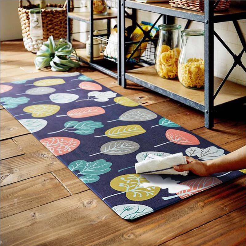 PVC Leather Surface Rugs Waterproof Oilproof Kitchen Carpets Anti Slip Living Room Floor Mat