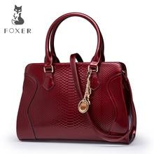 Foxer Brand Shoulder Bag Luxury Tote Handbags Women Genuine Leather Bags Female New Designer