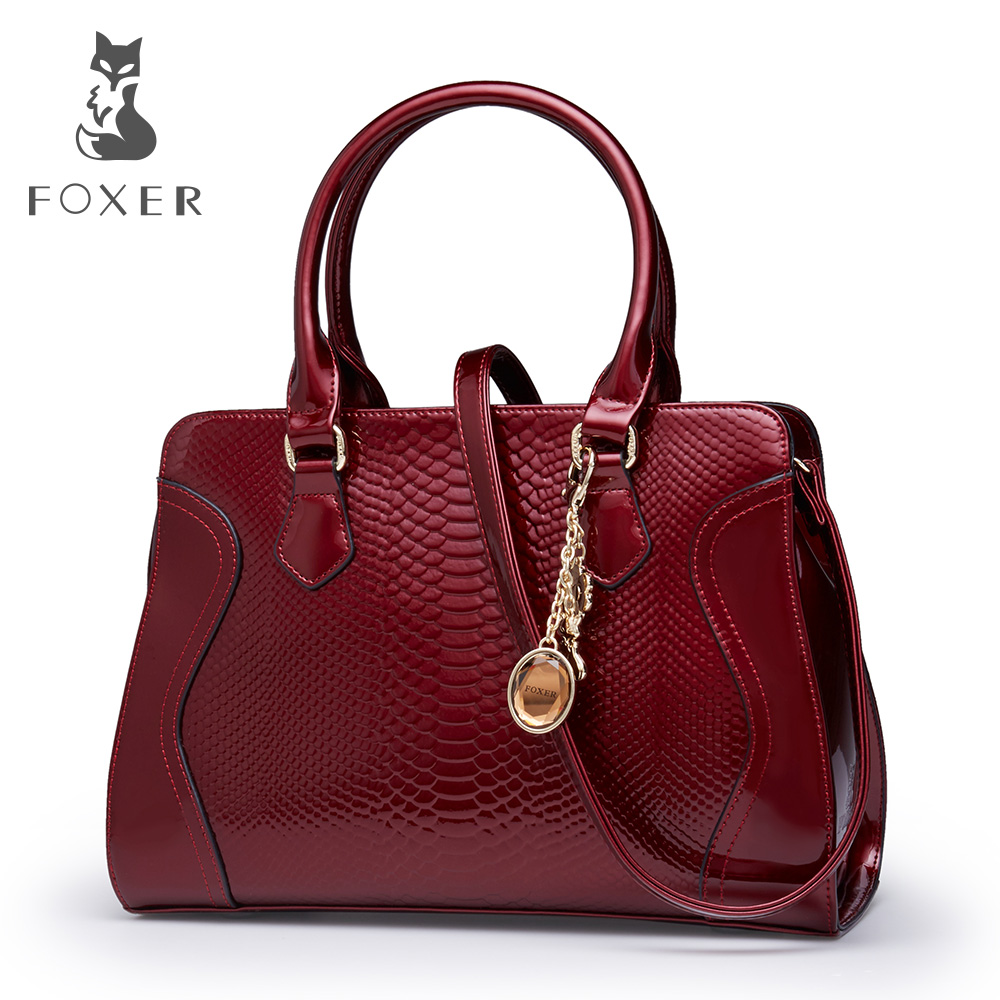 Foxer Brand Shoulder Bag Luxury Tote Handbags Women Genuine Leather Bags Female