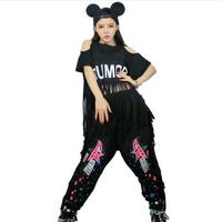 2016 Free Shipping Summer Tassel short-sleeve T-shirt hiphop short design sexy top female jazz dance ds dance costume