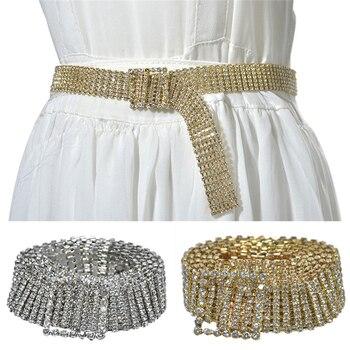 Belts For Women Fashion Luxury Full Rhinestone Shiny Waistband Cinturones Para Mujer Metal Golden Party Dress Belt Chain PD30Z