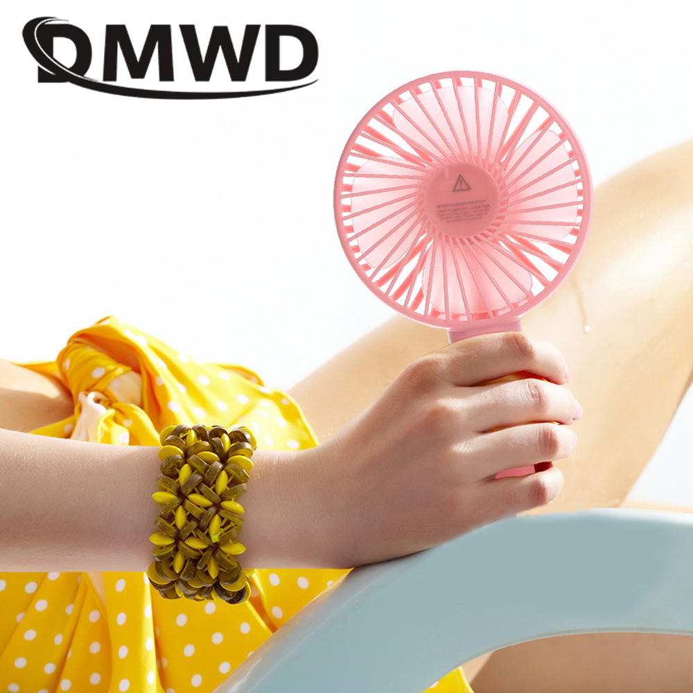 DMWD Mini Hand Held Electric Air Cooling Fan Portable USB Rechargeable Desktop Cooler Small Outdoor Conditioning Ventilador Fans