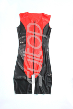 Men 's latex bodysuits with front zip through crotch Suitop