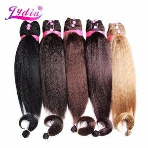 """Image 1 - Lydia kadınlar için Kinky düz 5 adet/paket sentetik saç uzatma 14 """"16"""" 18 """"saç dokuma Kanekalon saf renk saç demetleri"""