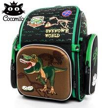 купить Cocomilo 2018 Cartoon Orthopedic School Backpack For Boys Girls Dinosaur Pattern School Bag Backpacks Mochila Infantil Grade 1-5 дешево