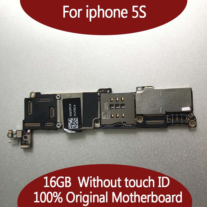100% Original unlocked for iphone 5S Motherboard without Touch ID,16gb for iphone 5S Mainboard with Full Chips,Good Working