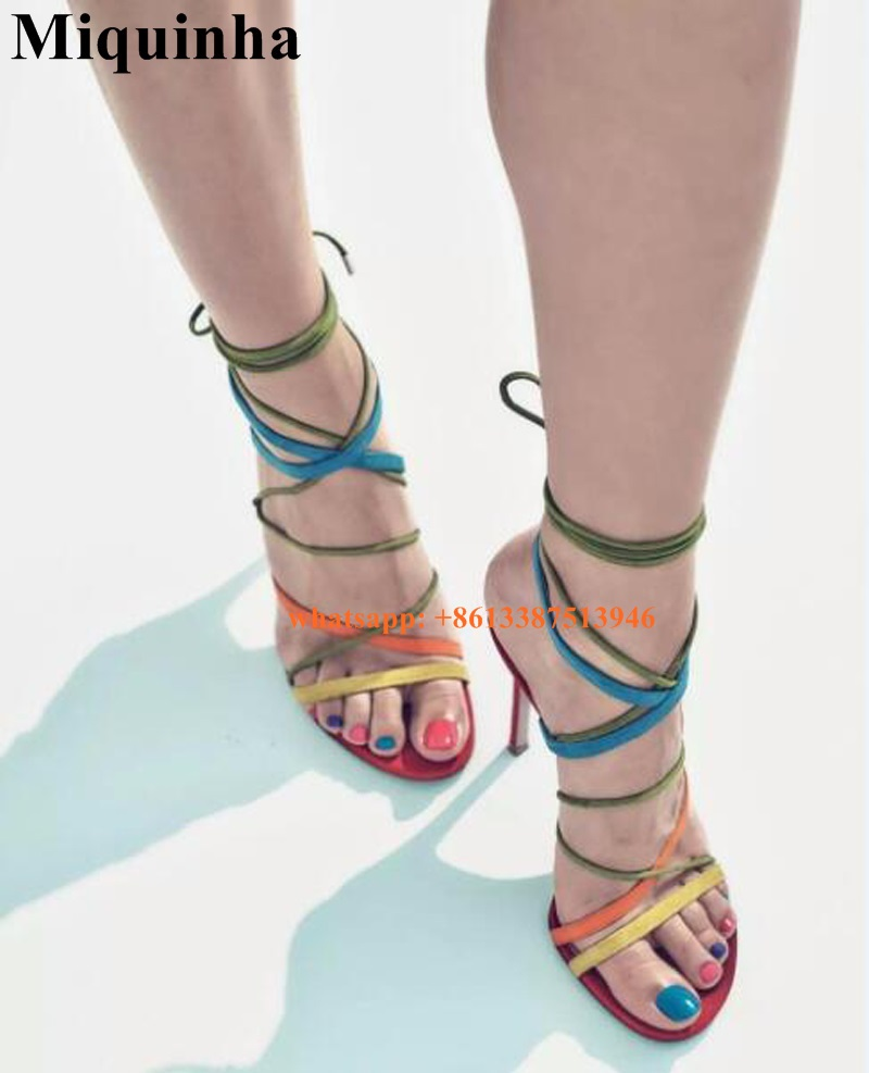 ФОТО Hot Sale Women Fashion Lace-up Suede Straps Design High Heel Sandals Sexy Ankle Strap Gladiator Sandals Dress Shoes