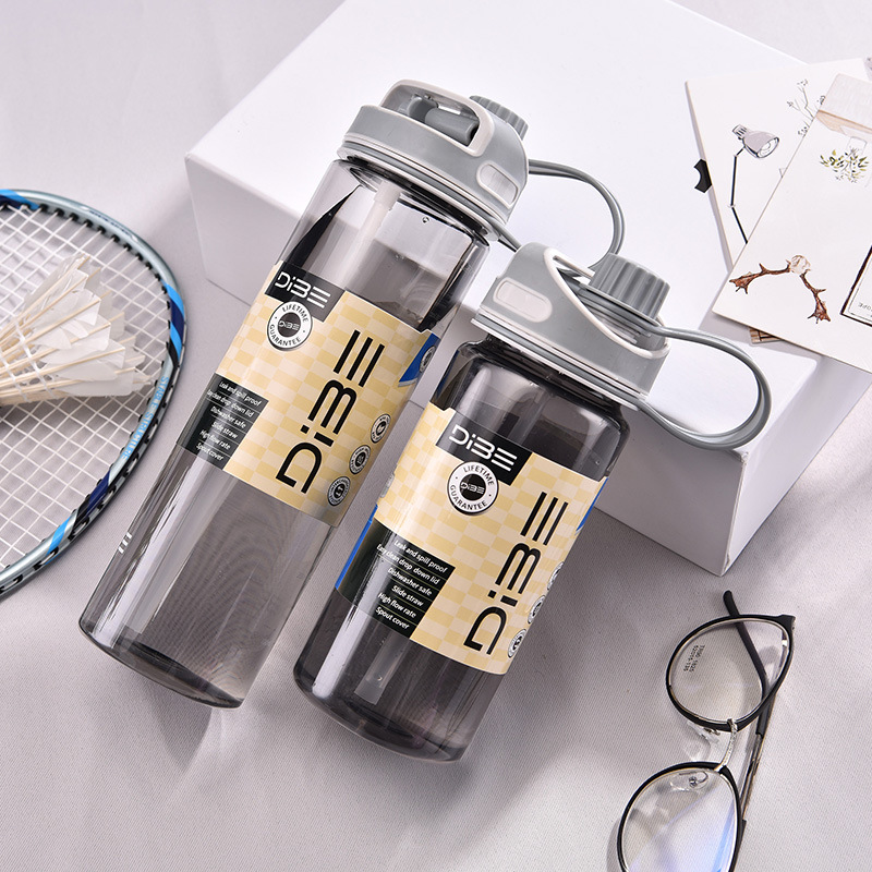 Creative straw water bottle Leakproof portable water bottle Kid Sport plastic drink bottle Travel outdoor hiking camping cup in Water Bottles from Home Garden