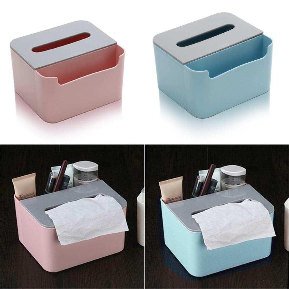 Plastic Cosmetic Storage Box Multifunction Desktop Tissue Box Portable Makeup Organizers Stationery Storage Case