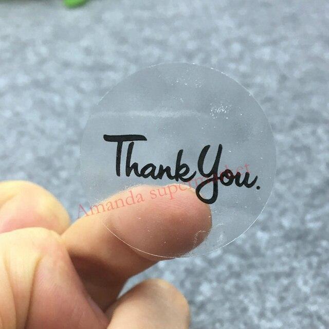 100PCS Transparent thank you Label Sticker Circular Sealing Label Sticker PVC Transparent DIY Label  Diameter 30mm