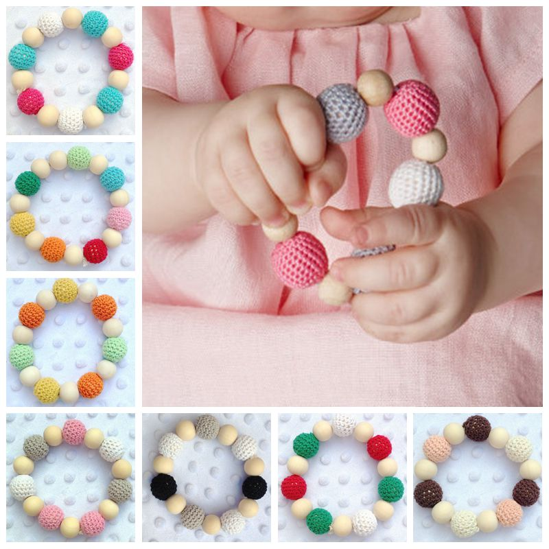 Baby Teether Teething Ring Wood Color Wool Ball Ring Teething Ring Training Toothbrushes Natural Wood Beads Toys for Baby Smooth