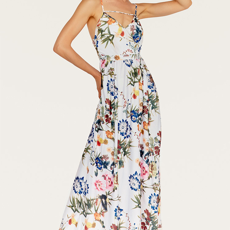 Mode été bohème femme robe imprimé bretelles sexy exposé dos dentelle robe femme plage robe 2018 nouvelles explosions
