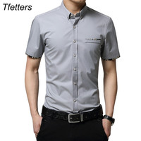 TFETTERS Plus Size 5XL 2017 Summer New Korean Style Men Short Sleeve Shirt Fashion Solid Color