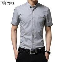 TFETTERS Plus Size 5XL 2017 Summer New Korean Style Men Short Sleeve Shirt Fashion Solid Color